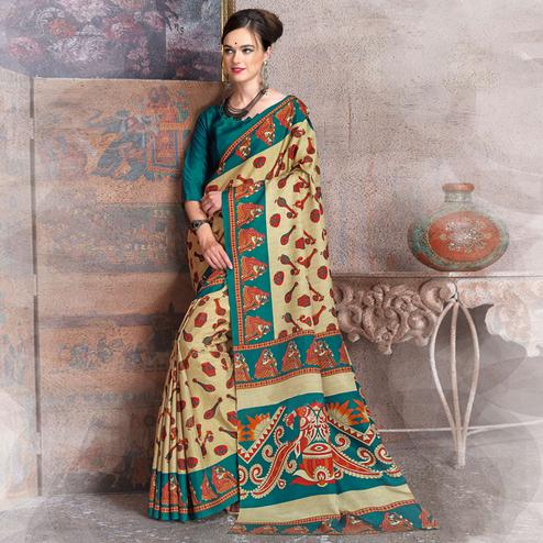 Energetic Beige-Teal Green Colored Kalamkari Printed Art Silk Saree