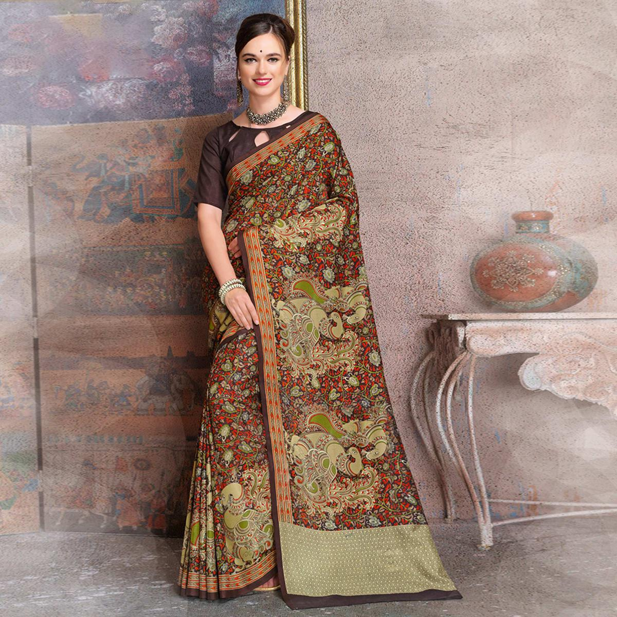 Innovative Brown Colored Kalamkari Printed Art Silk Saree