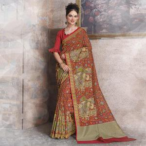 Bold Red Colored Kalamkari Printed Art Silk Saree