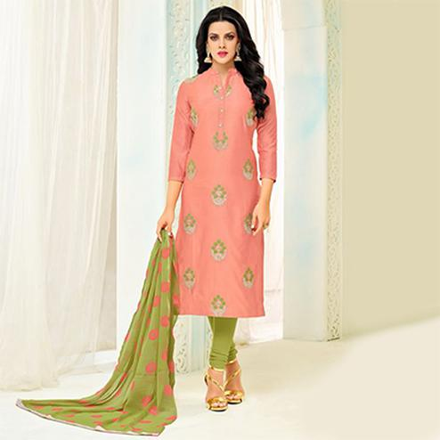 Dazzling Dark Peach Chanderi Cotton Embroidered Suit