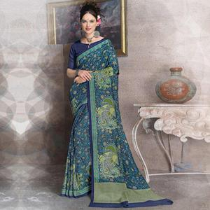 Staring Blue Colored Kalamkari Printed Art Silk Saree