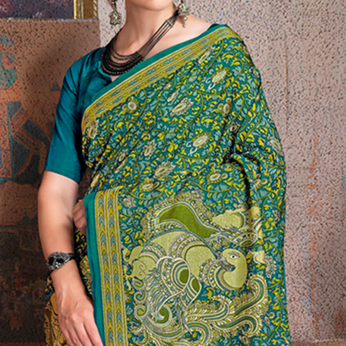 Flattering Sky Blue Colored Kalamkari Printed Art Silk Saree