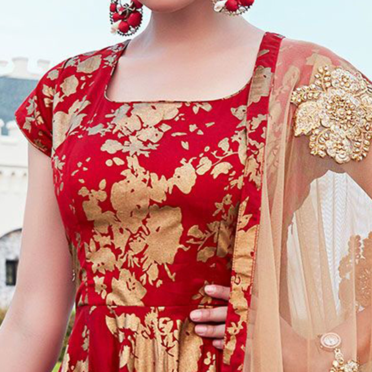 Delightful Red Colored Party Wear Printed Tapetta Silk Anarkali Suit