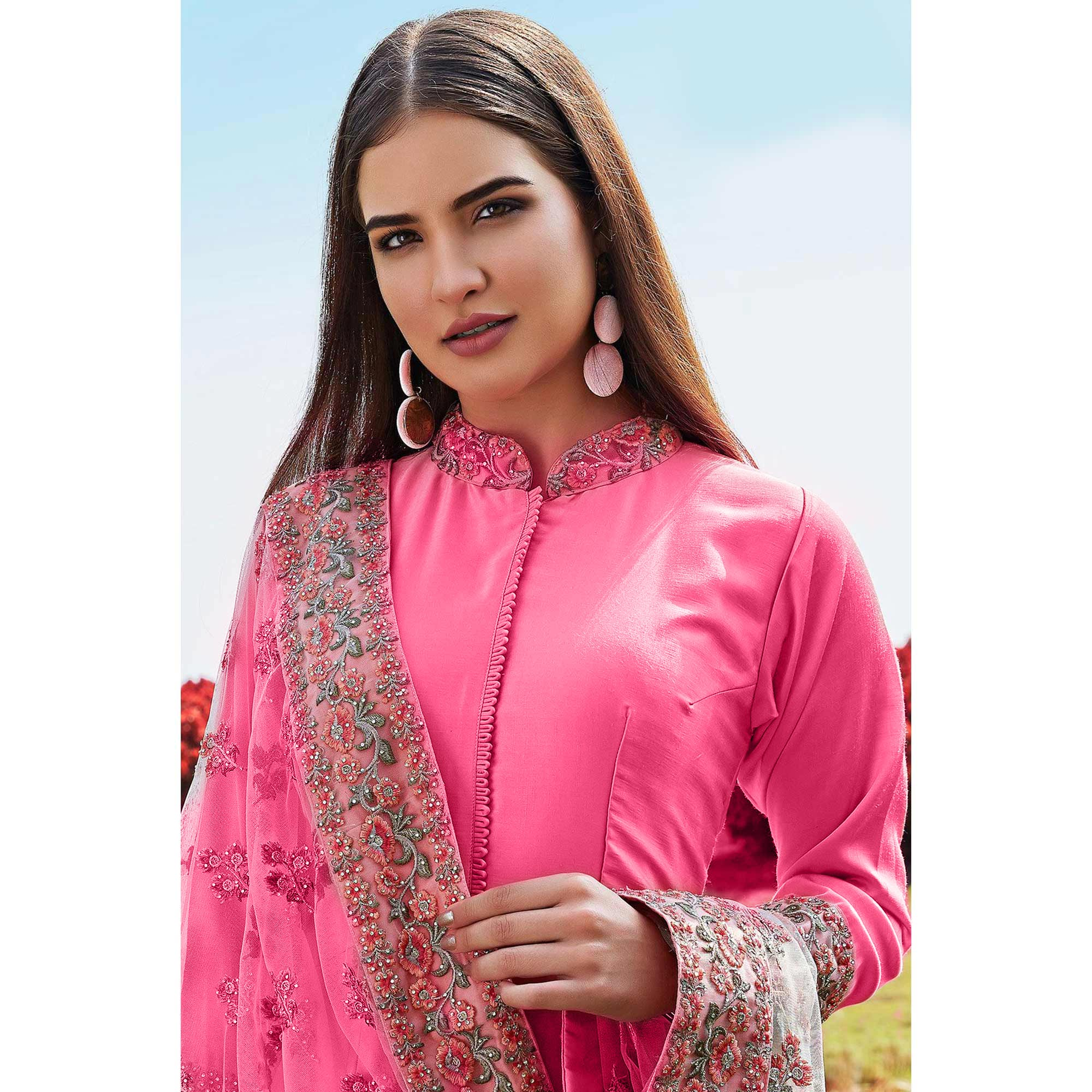 Blooming Pink Colored Party Wear Embroidered Cotton Anarkali Suit