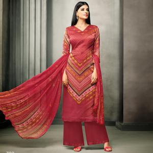 Classy Red Colored Partywear Printed Satin Palazzo Suit