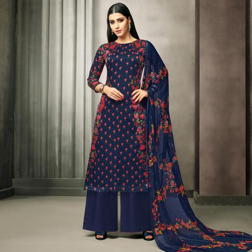 Attractive Navy Blue Colored Partywear Printed Satin Palazzo Suit
