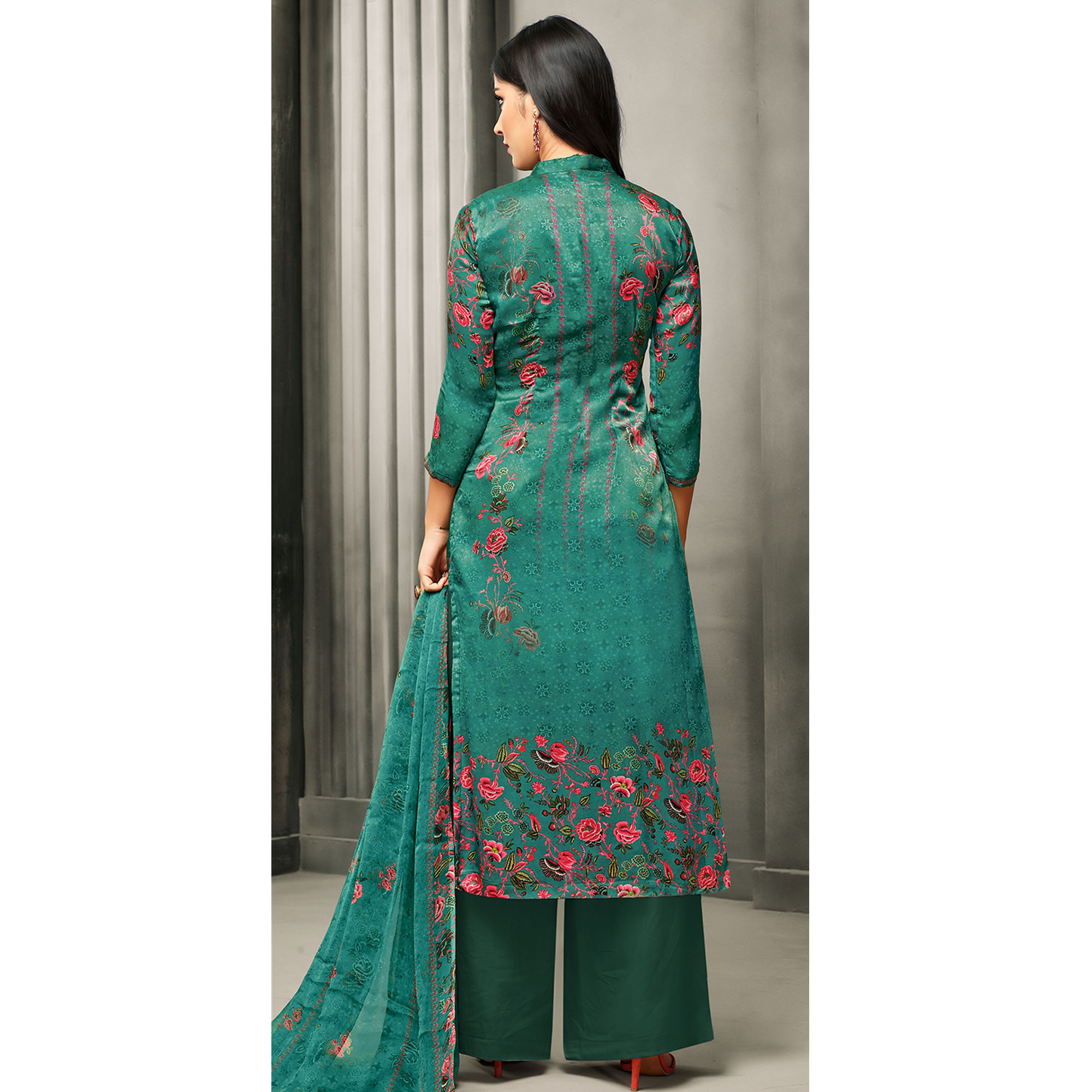 Amazing Turquoise Green Colored Partywear Printed Satin Palazzo Suit