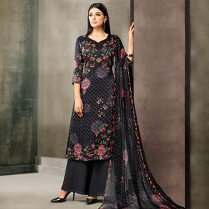 Stunning Black Colored Partywear Printed Satin Palazzo Suit