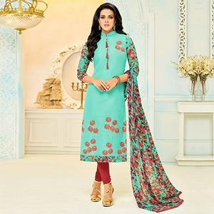 Stunning Sea Green Floral Embroidered Suit