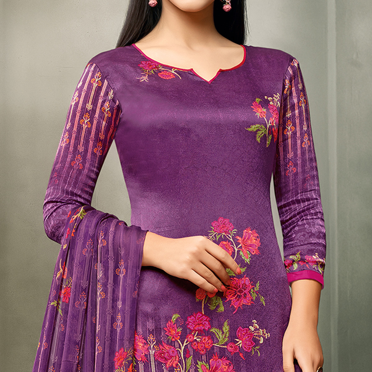 Exceptional Violet Colored Partywear Printed Satin Palazzo Suit