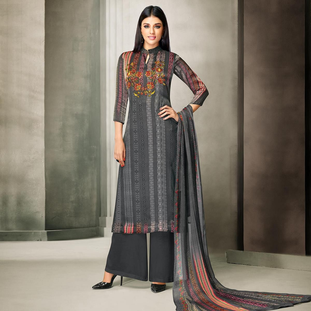 Trendy Gray Colored Partywear Printed Satin Palazzo Suit