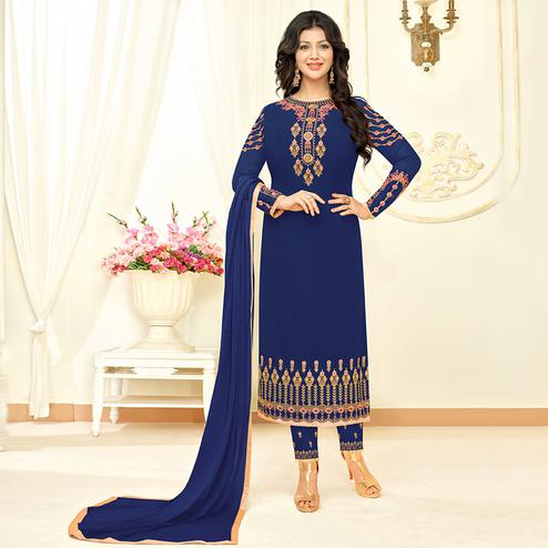 Attractive Blue Colored Partywear Embroidered Georgette Suit