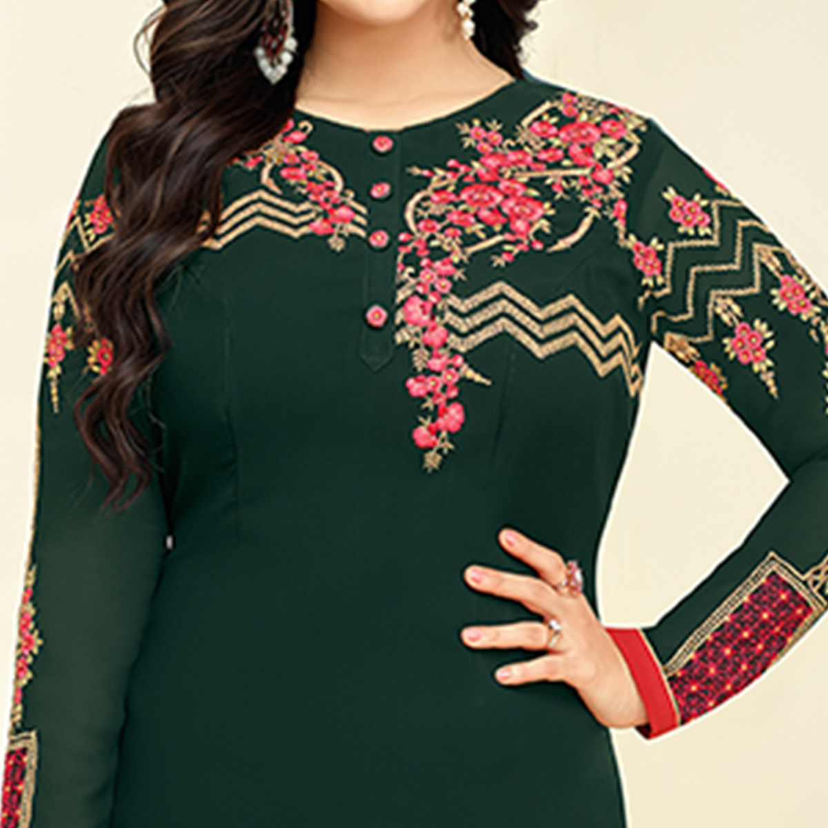 Refreshing Dark Green Colored Partywear Embroidered Georgette Suit