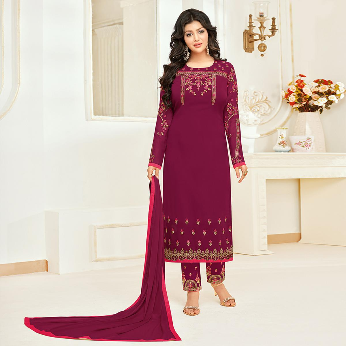 Marvellous Dark Magenta Colored Partywear Embroidered Georgette Suit