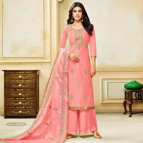Stunning Pink Colored Party Wear Embroidered Modal Silk Palazzo Suit