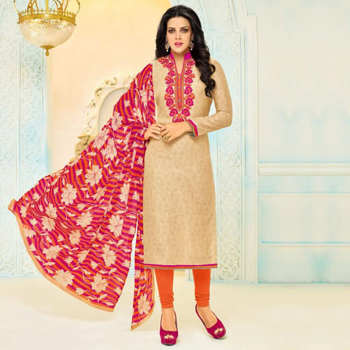 Elegant Beige Chanderi Cotton Floral Embroidered Suit
