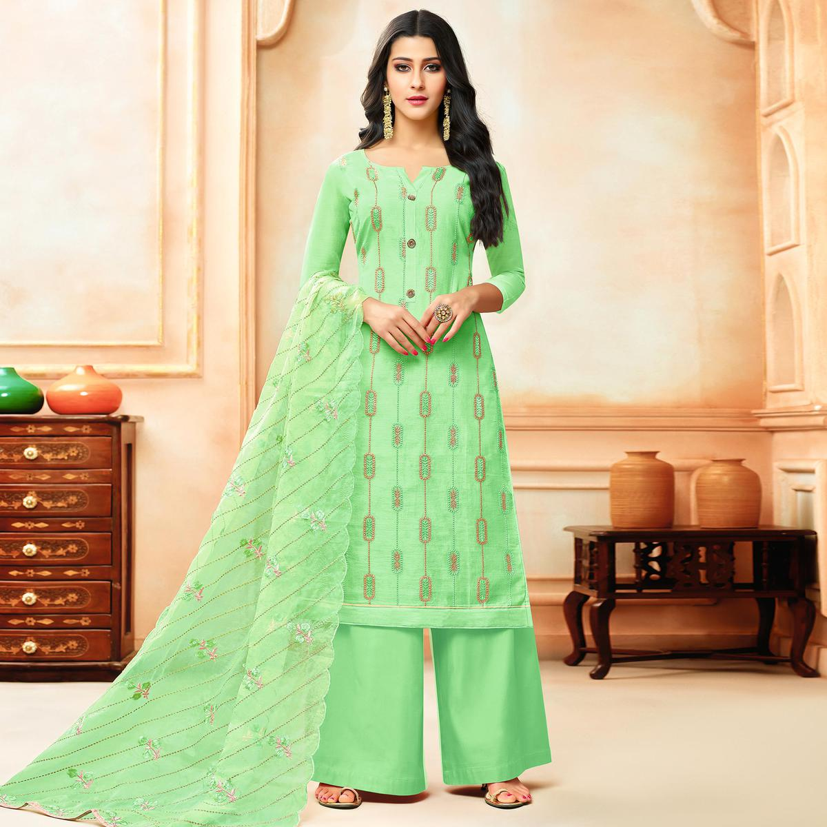Blooming Green Colored Party Wear Embroidered Modal Silk Palazzo Suit