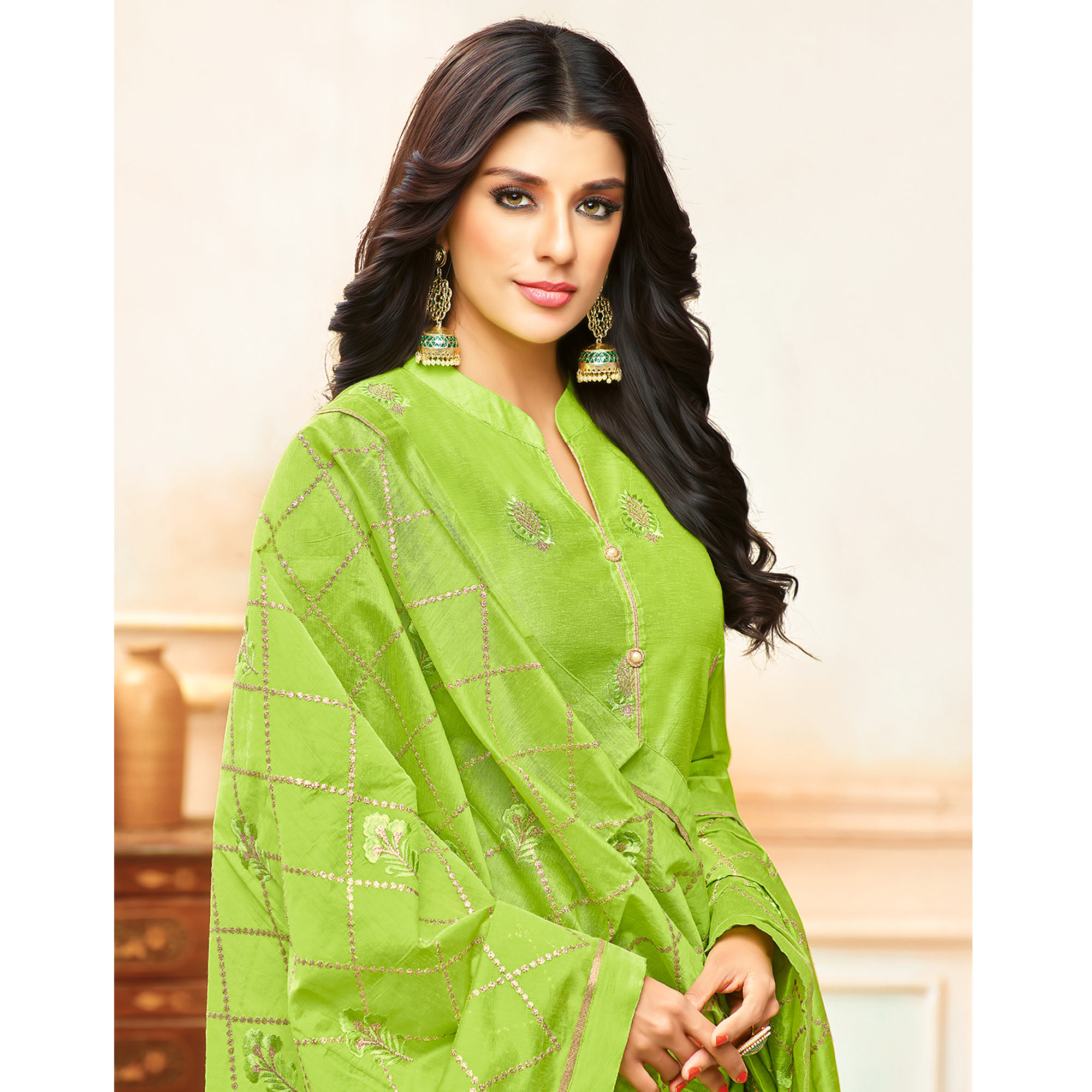 Marvellous Parrot Green Colored Party Wear Embroidered Modal Silk Palazzo Suit