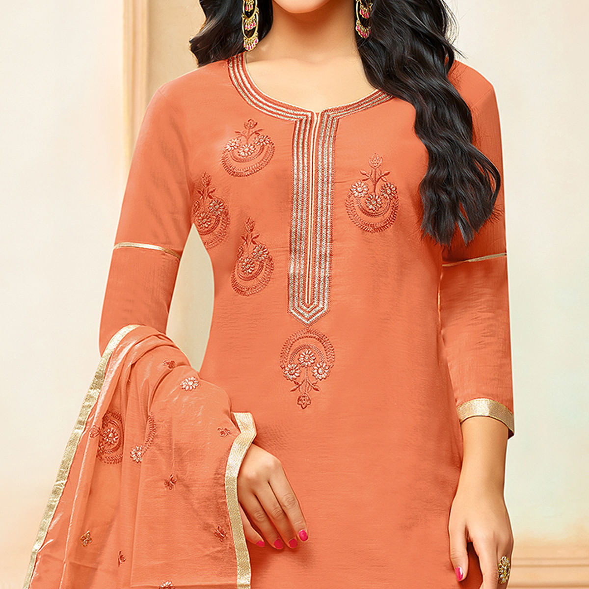 Mesmerising Dark Peach Colored Party Wear Embroidered Modal Silk Palazzo Suit