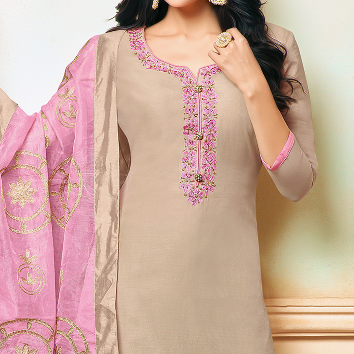 Ravishing Beige Colored Party Wear Embroidered Modal Silk Palazzo Suit