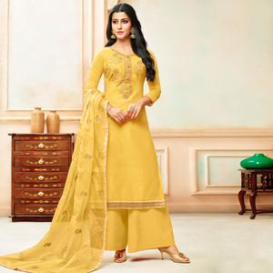 Amazing Yellow Colored Party Wear Embroidered Modal Silk Palazzo Suit