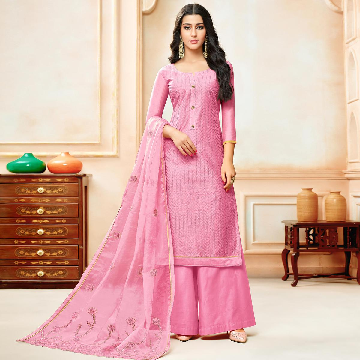 Exotic Pink Colored Party Wear Embroidered Modal Silk Palazzo Suit