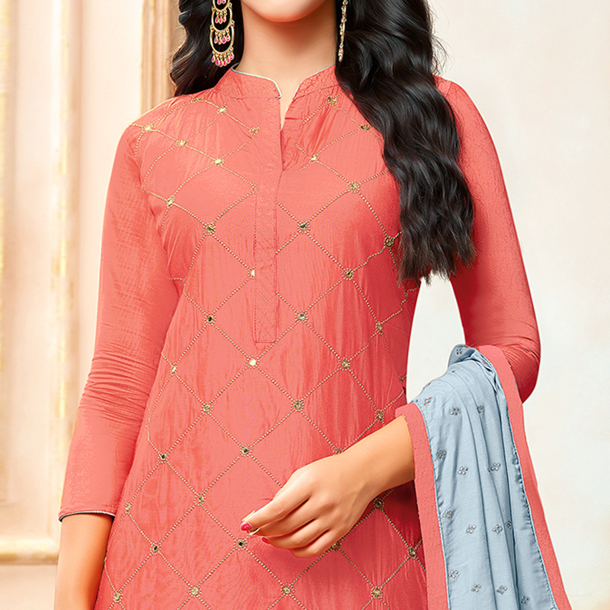 Majesty Coral Red Colored Party Wear Embroidered Modal Silk Palazzo Suit