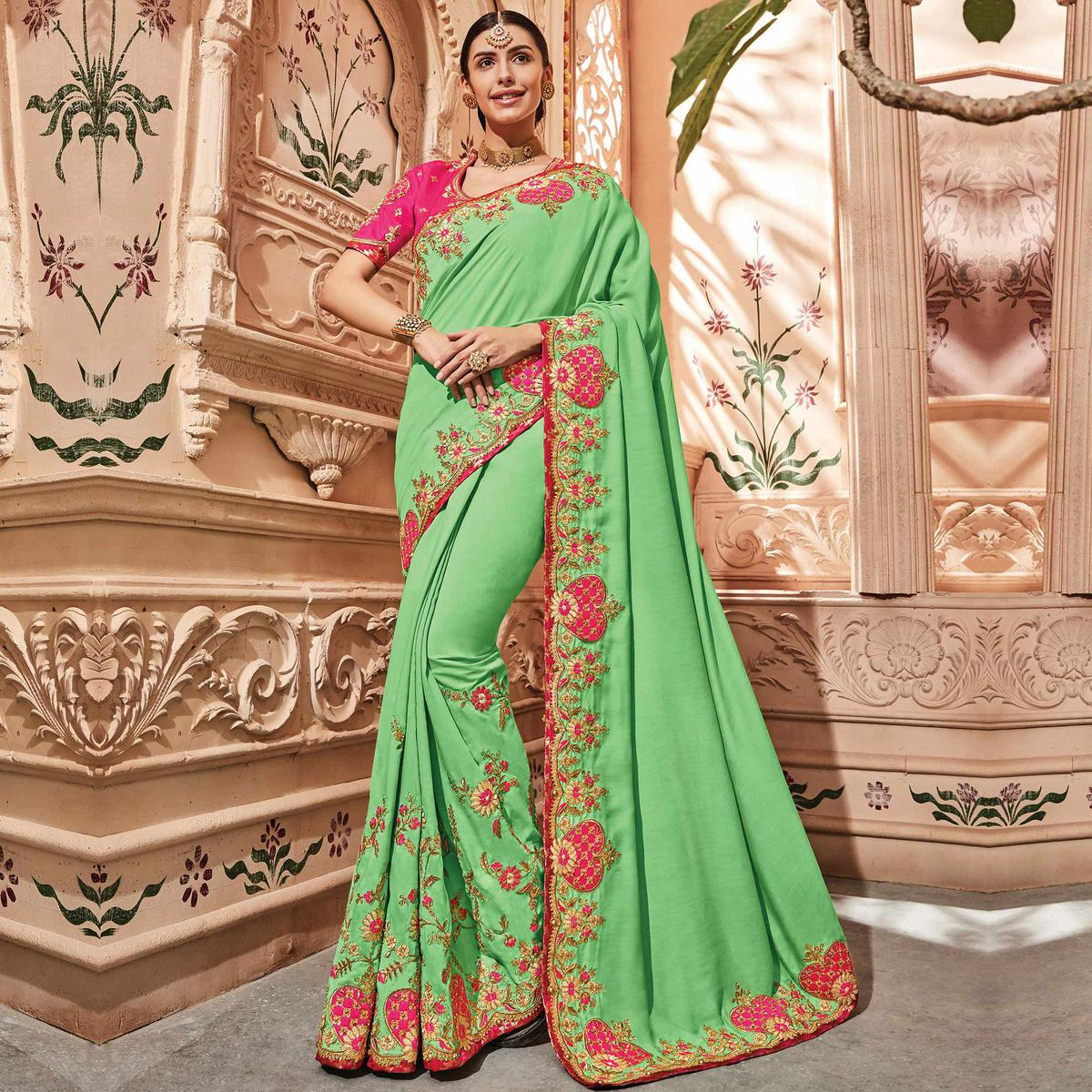 Intricate Green Colored Embroidered Party Wear Silk Satin Saree