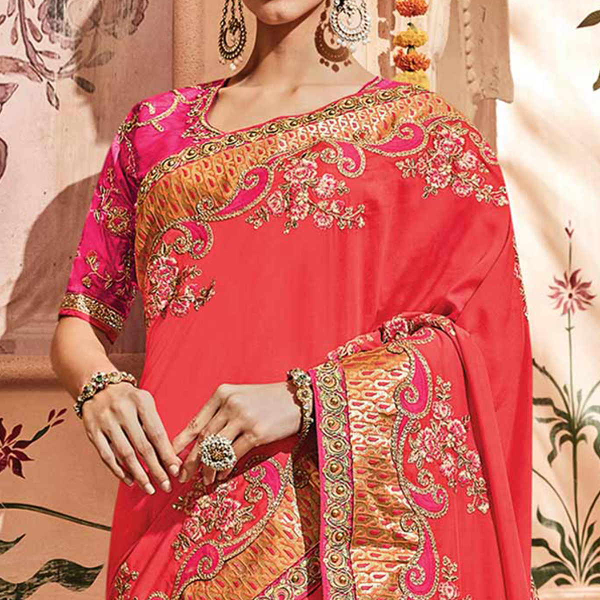 Desirable Coral Red Colored Embroidered Party Wear Georgette Saree