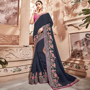 Sophisticated Blackish Grey Colored Embroidered Party Wear Silk Satin Saree
