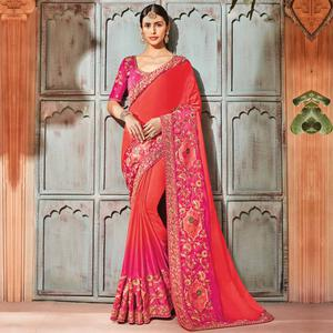 Demanding Orange Colored Embroidered Party Wear Satin Saree