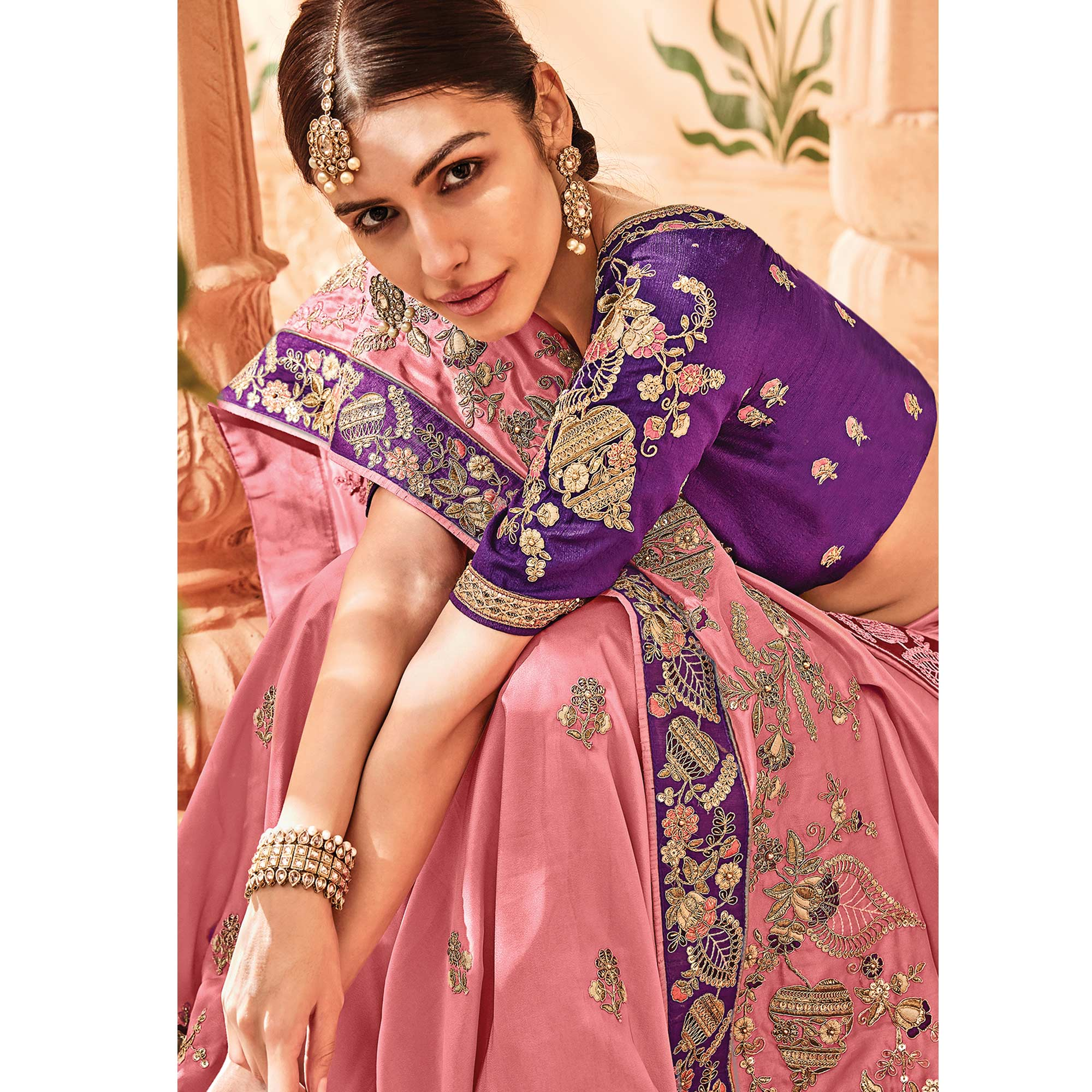 Pleasant Pastel Pink Colored Embroidered Party Wear Georgette Saree