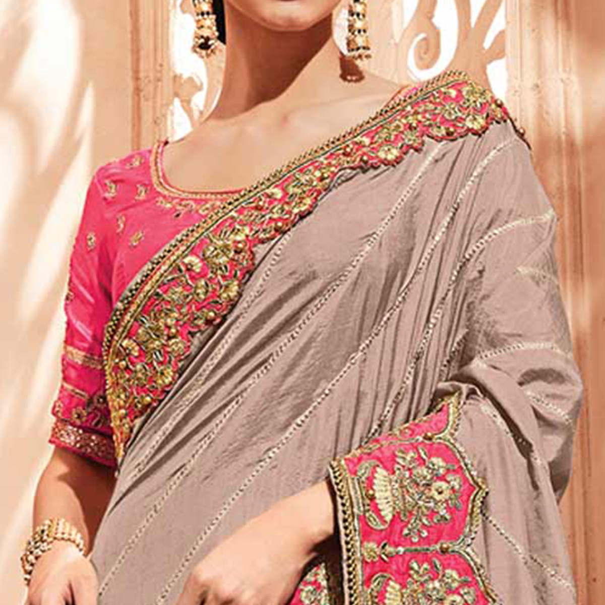 Unique Light Grey Colored Embroidered Party Wear Silk Saree