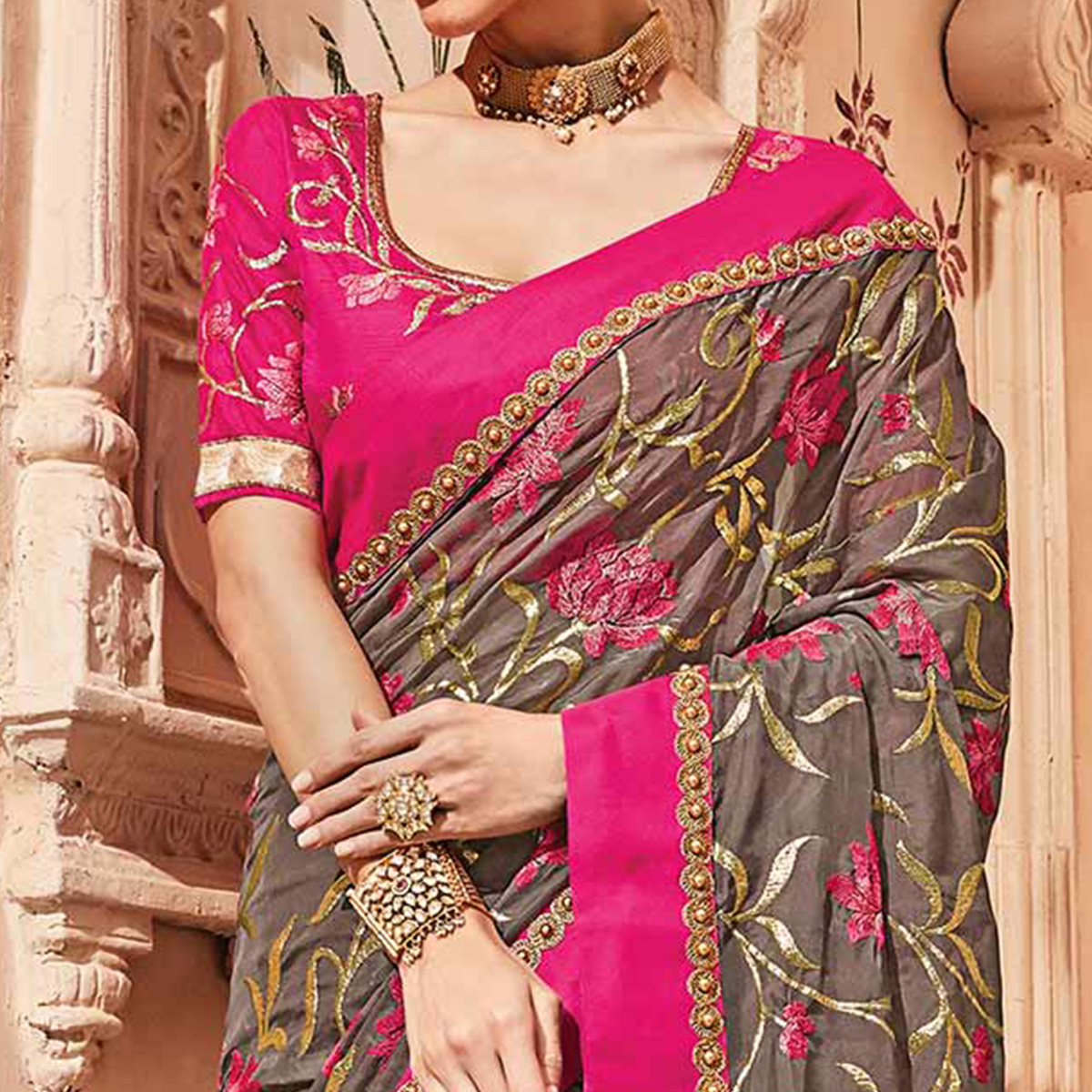 Refreshing Grey Colored Embroidered Party Wear Art Silk Saree