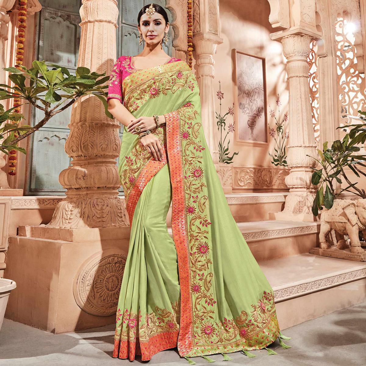 Alluring Pista Green Colored Embroidered Party Wear Silk Saree