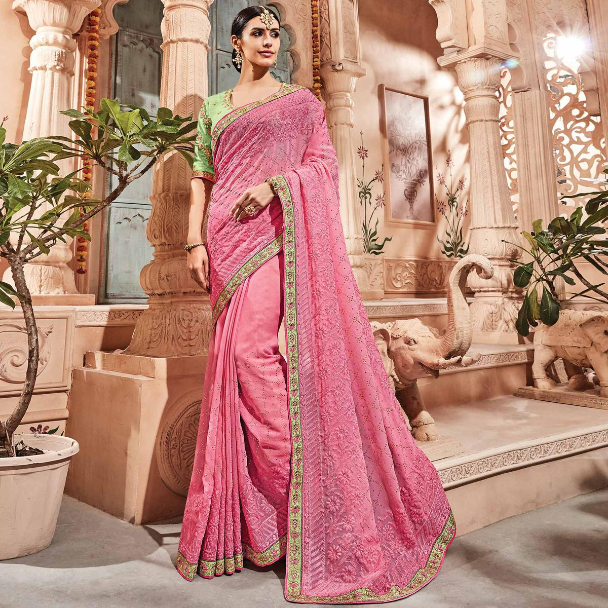 Sensational Pink Colored Embroidered Party Wear Georgette Saree