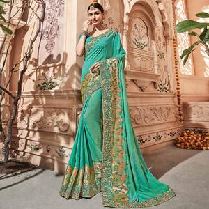 Opulent Turquoise Green Colored Embroidered Party Wear Art Silk Saree