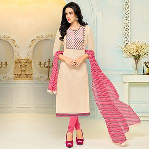 Lovely Cream - Pink Chanderi Cotton Suit