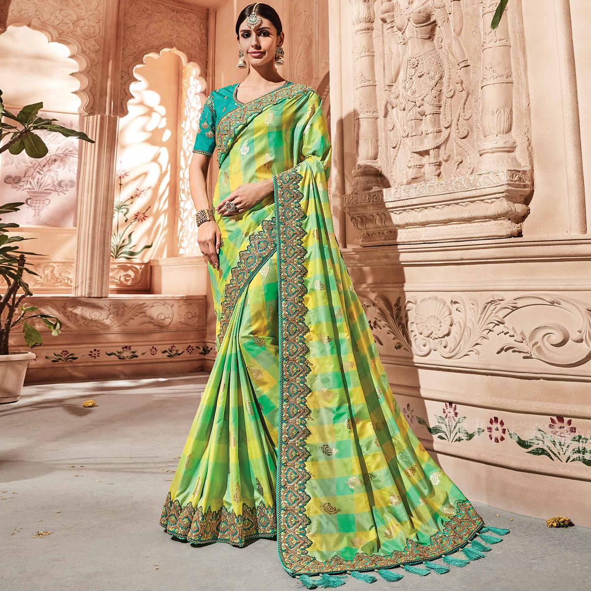 Dazzling Multi Colored Embroidered Party Wear Banarasi SIlk Saree