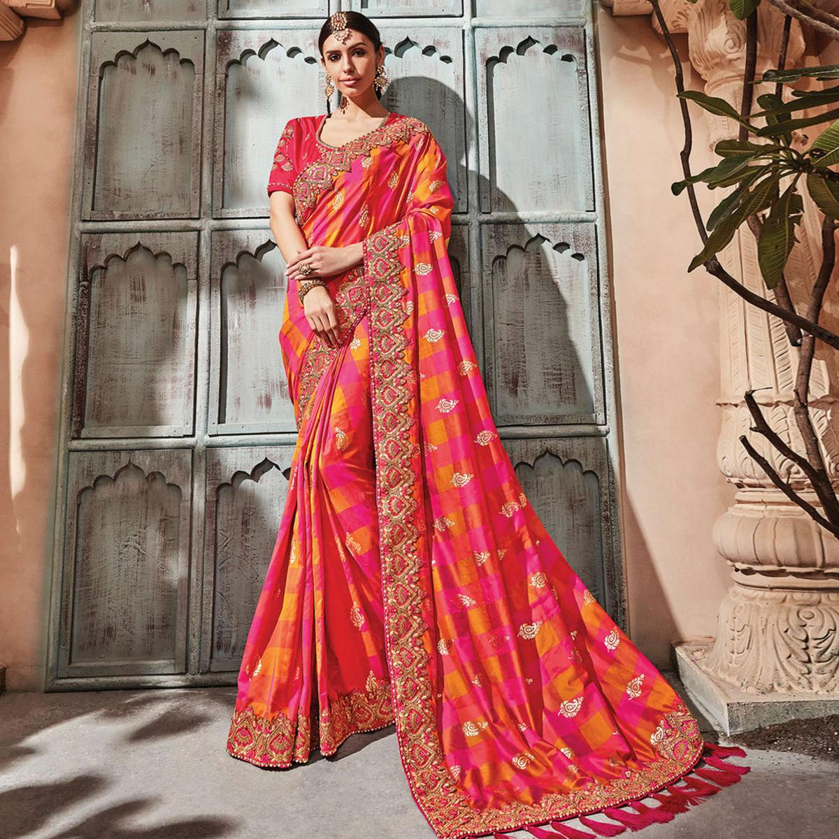 Flattering Pink Colored Embroidered Party Wear Banarasi SIlk Saree