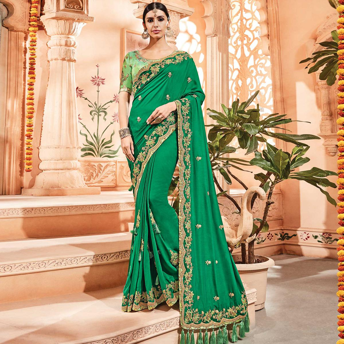 Impressive Green Colored Embroidered Party Wear Silk Satin Saree