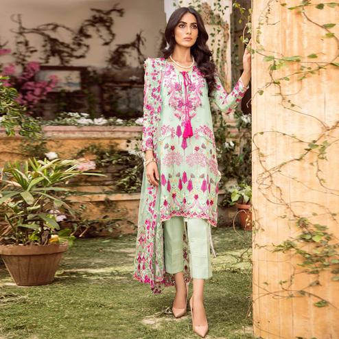 Exceptional Aqua Green Colored Partywear Embroidered Georgette Pant Style Suit