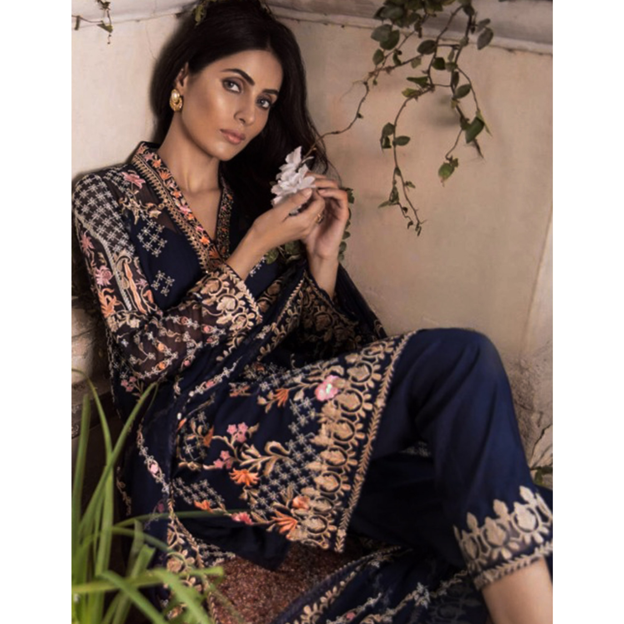 Hypnotic Navy Blue Colored Partywear Embroidered Georgette Pant Style Suit