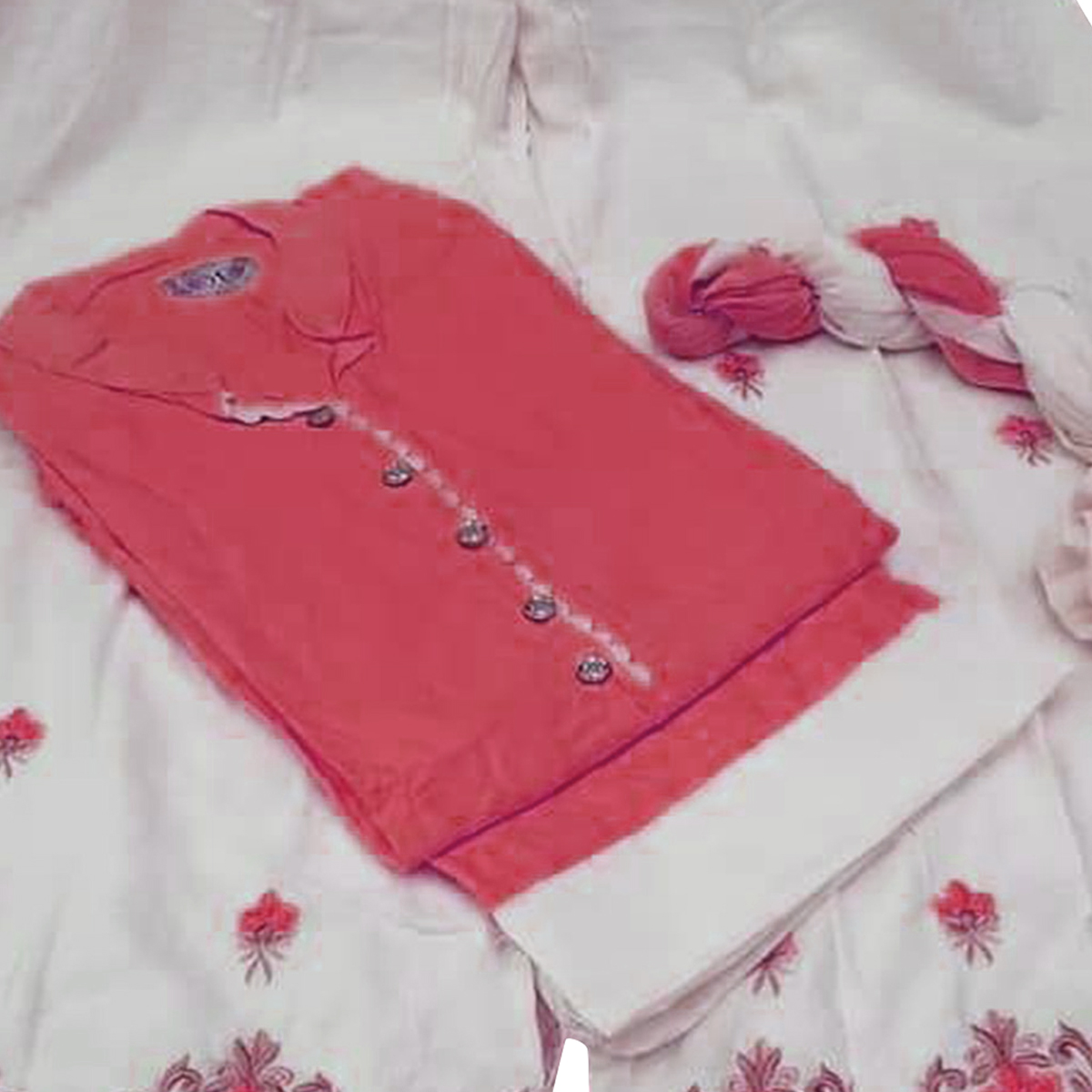 Appealing Dark Pink Colored Partywear Embroidered Cotton Palazzo Suit