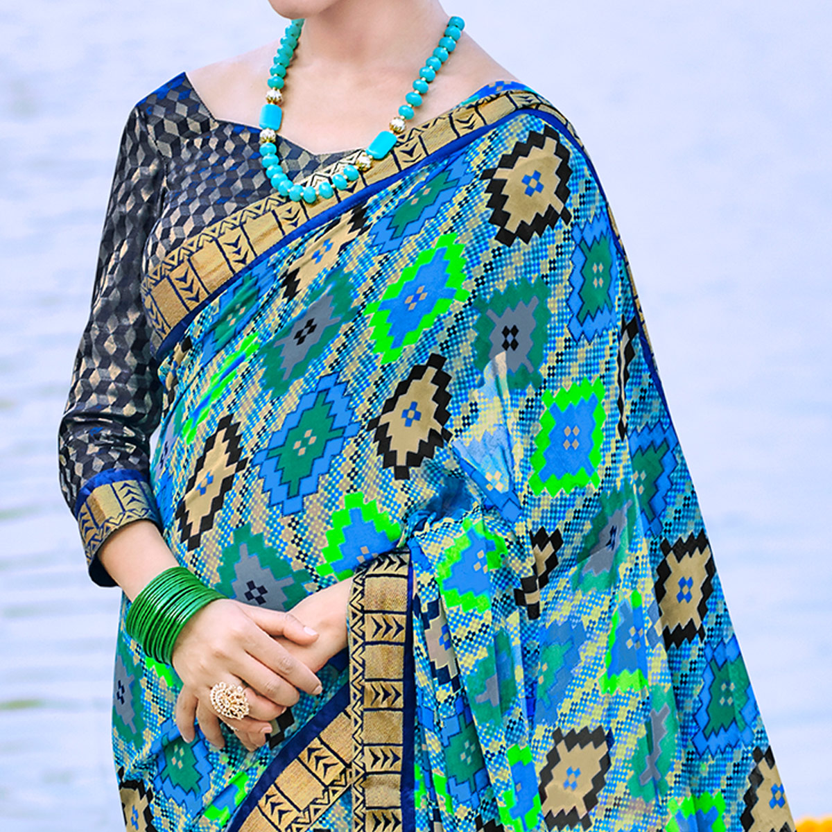 Dazzling Blue Colored Party Wear Printed Georgette Saree