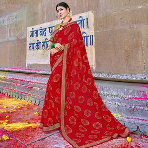 Flattering Red Colored Party Wear Printed Georgette Saree