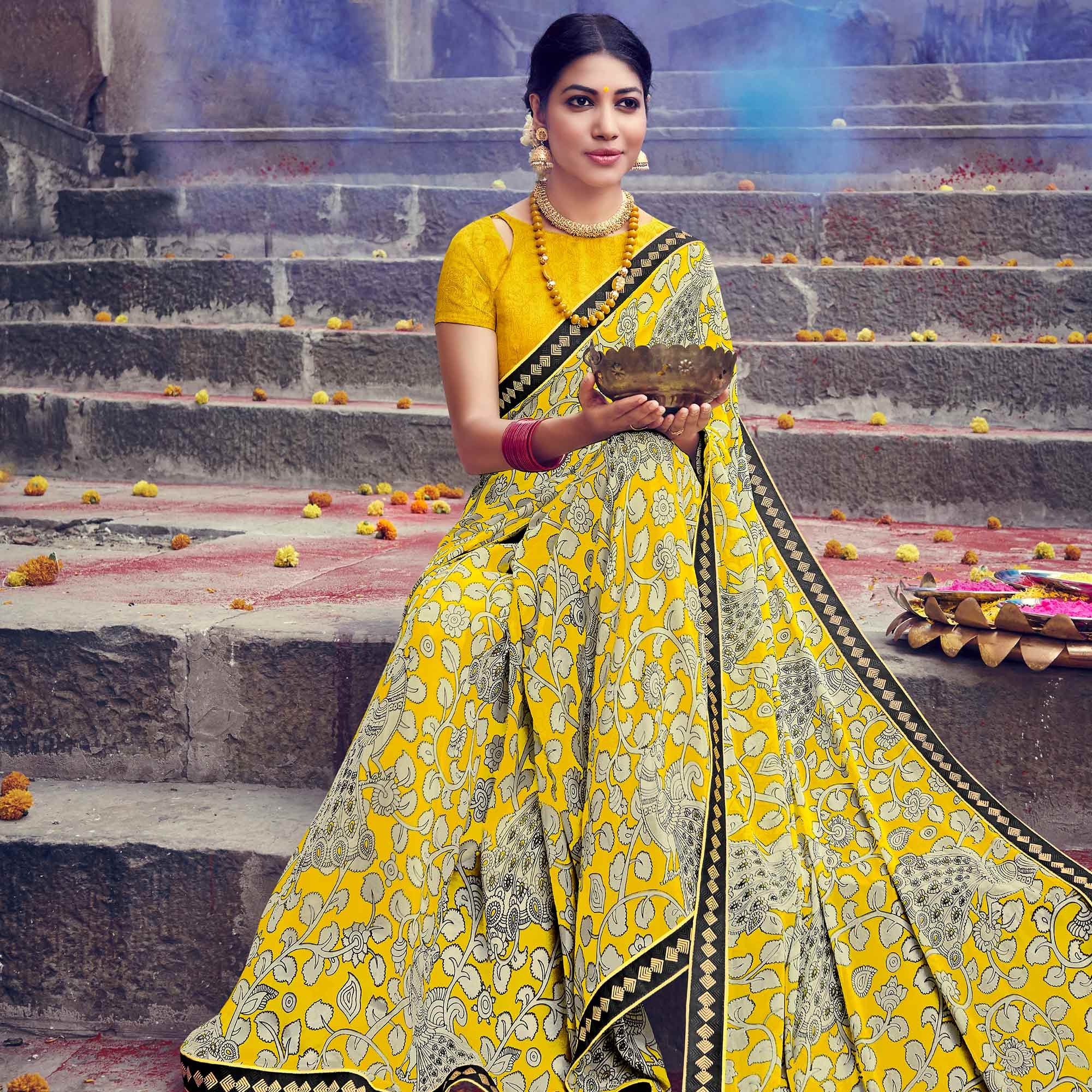 Breathtaking Yellow Colored Party Wear Printed Georgette Saree