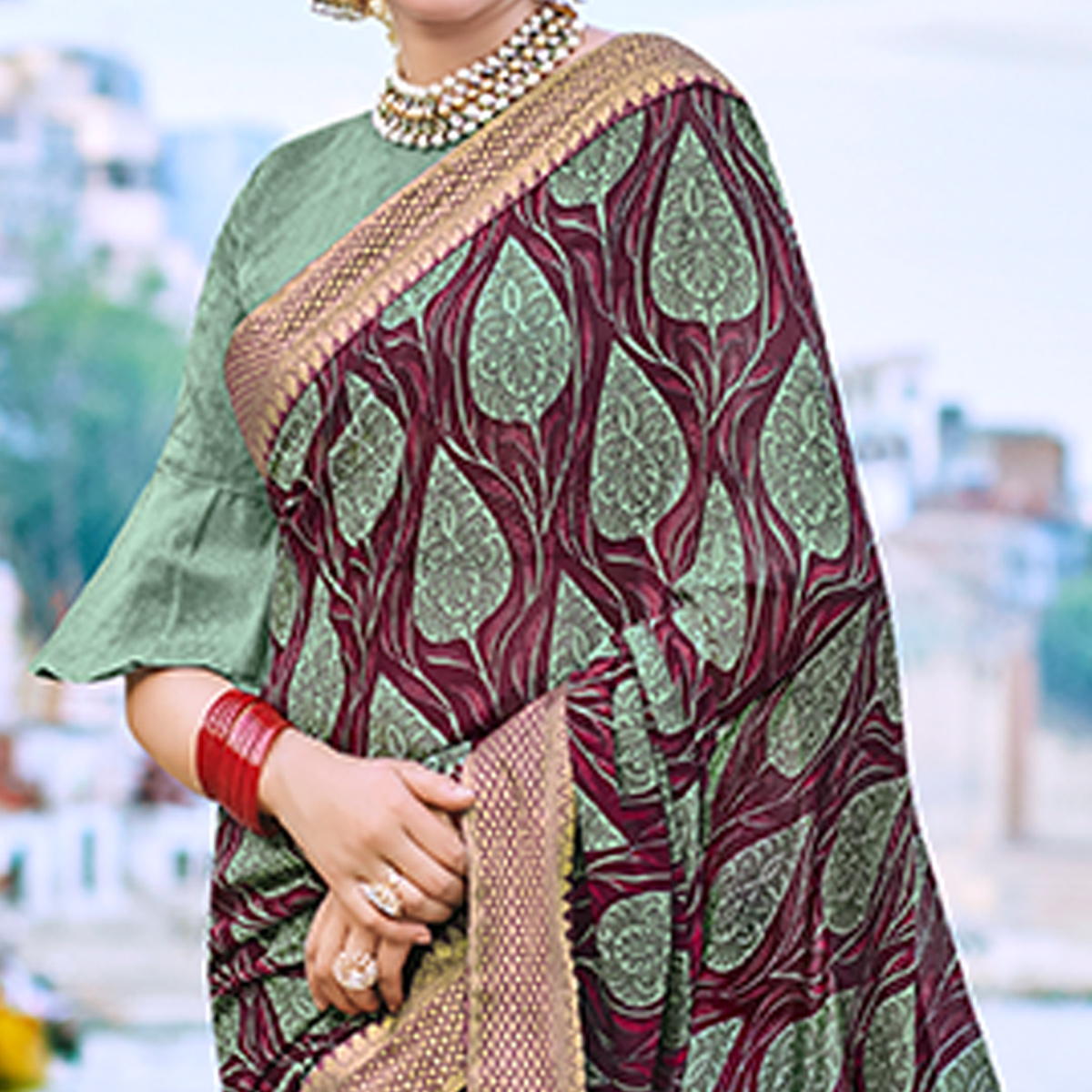 Impressive Wine-Green Colored Party Wear Printed Georgette Saree