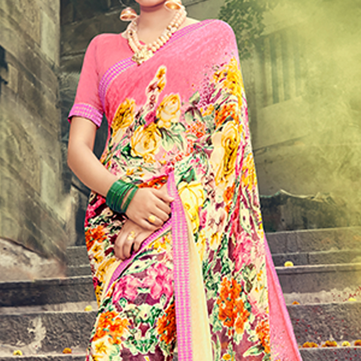 Innovative Light Yellow Colored Party Wear Printed Georgette Saree