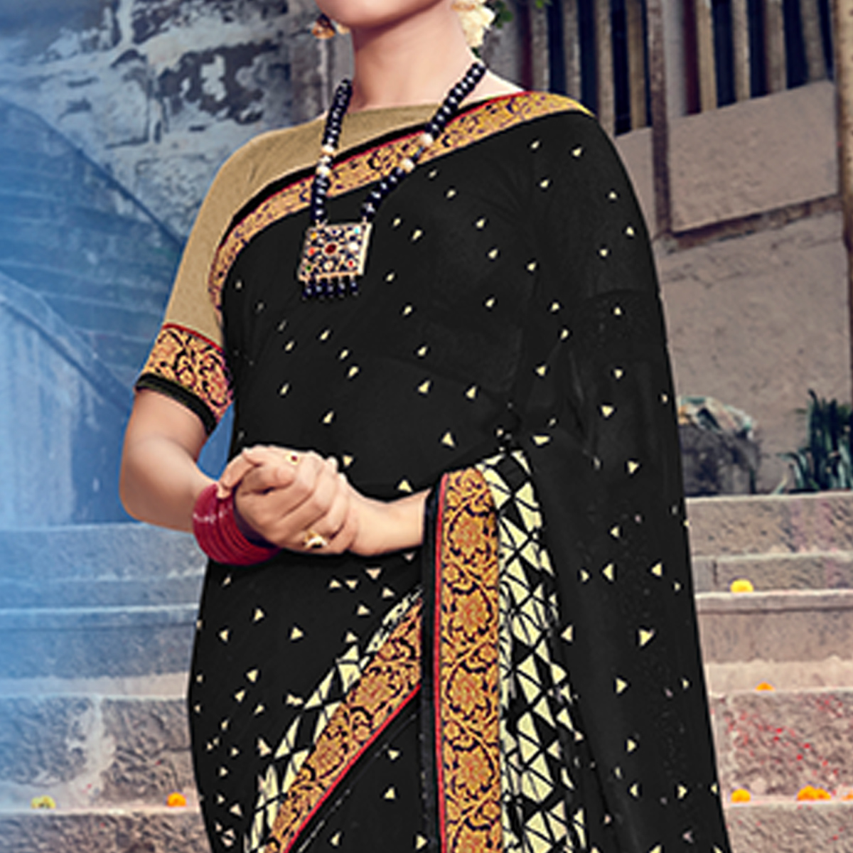 Gleaming Black Colored Party Wear Printed Georgette Saree